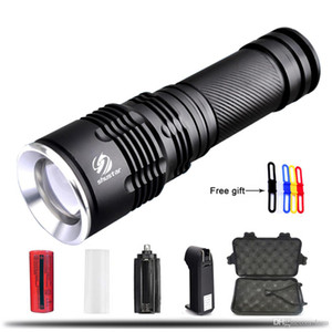 Ultra Bright T6 L2 LED Flashlight 5 Modes 8000Lumens thick lenses Zoomable LED Torch 26650 Battery + Charger + gift