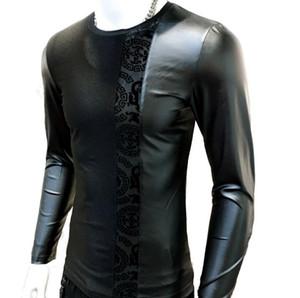 2019 printemps coréen T-shirt à manches longues Top Hommes marée marque chemises à col rond en coton mercerisé coutures creuses T-shirt en cuir PU vêtements
