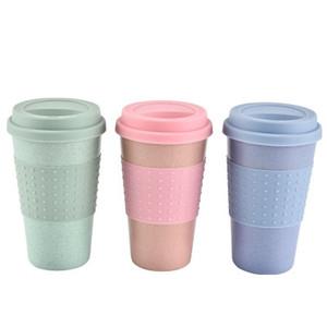 Kapak Yüksek Sıcaklık Direnci Hafif Taşınabilir EEA685-11 ile Silika Jel Coffee Cup Buğday Straw Elyaf Mug Plastik Araç Tumbler