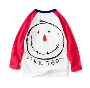 Spring new kids clothing girls long-sleeved T-shirt raglan hit color shirt children's boys long-sleeved bottoming shirt