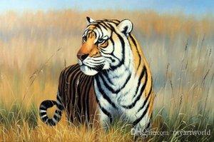 Incorniciato Tigre del Bengala Endangered Species In Erba, genuina pittura a olio dipinta a mano Animal Art On Museum spessa tela di canapa di qualità Multi dimensioni J051