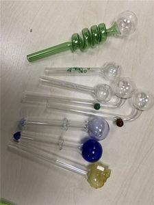 3 шт. / лот стеклянная трубка курительные принадлежности простые трубы табак ручной Pyrex красочные прозрачные стеклянные масляные горелки гвоздь трубы