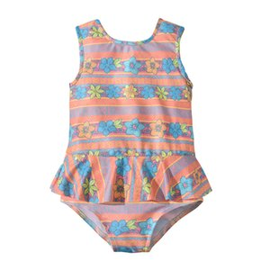 Children Striped Floral 프린트 수영복 2019 여름 프릴 오프 어깨 수영복 비키니 키즈 원피스 수영복 5 색