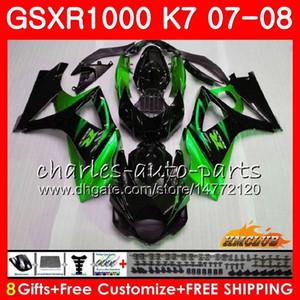 Karosserie für SUZUKI GSXR-1000 GSX-R1000 grün schwarz heiß GSXR1000 07 08 Karosserie 12HC.60 GSX R1000 07 08 K7 GSXR 1000 2007 2008 Komplette Verkleidung