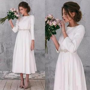 2020 vintage scoop una linea manica lunga paese tè lunghezza abiti da sposa splendidi abiti da sposa semplici da sposa robe de mariage su misura