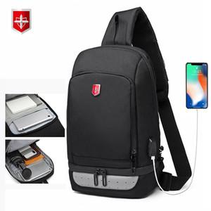 RUISHISABER New USB Charging Chest Pack Uomo Borsa a tracolla impermeabile a tracolla anti-ladro Borse da viaggio casual da uomo