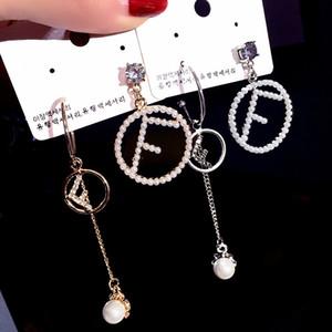 diseño de lujo temperamento pendientes Personalidad Diseño micro cartas prisionero de la perla - Letras determinadas personalidad asimétrica pendientes de gota