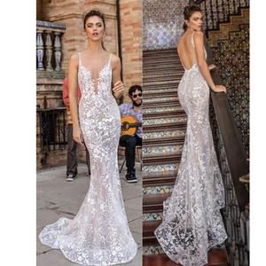 Spaghetti Strap Berta Mermaid Wedding Dresses Full Lace Backless Sleeveless Bridal Gown Sweep Train Boho robe de mariée