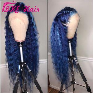 أزياء موجة عميقة الرباط الجبهة الباروكة الاصطناعية نمط المشاهير 360 الرباط أمامي الباروكة الزرقاء الطويلة للنساء السود preplucked شعري الطبيعي