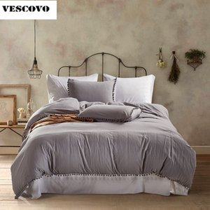 Soft Pom Fringe Bedding Set Solid Color Duvet Cover Set Bed Cover and Pillow Sham with Tassels Fluffies Fringe Twin Queen King T200706