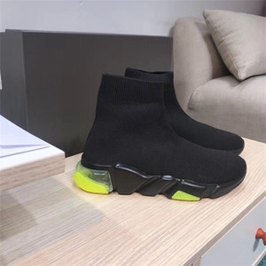 womens design de luxe haute top sneakers de coton de bottes de créateurs Formateurs Black Stretch Casual Chaussures pour Bottes Femmes pour hommes