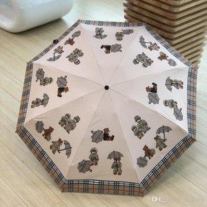 Классический Plaid Printed зонтиков Симпатичный мультфильм Медведь Печать дождя Зонтики UV защиты Складной Солнечный Зонтик