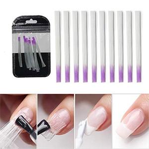 10 pcs / pack Fibra de vidrio Forma de uñas para Nail Art Extensión rápida Nail Art Equipment Fibernails para uñas Seda Edificio UV Gel herramienta al por mayor