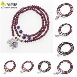 Nouvelle pierre naturelle Grenat 3 Cercle Bracelet Cristal pierres précieuses Pendentif femme fille Accessoires de Noël cadeau de mariage Prix de gros