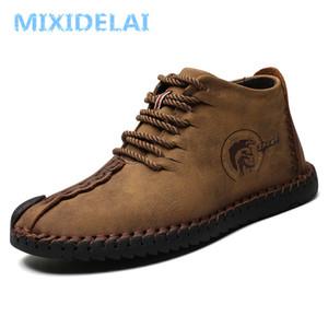 MIXIDELAI Mode Männer Stiefel Hohe Qualität Split Leder Ankle Schneeschuhe Schuhe Warme Pelz Plüsch Lace-Up Winter Schuhe Plus größe
