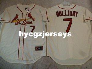 Cheap baseball MENS Sc #7 MATT HOLLIDAY SEWN Alternate Jersey CREME Mens stitched jerseys Big And Tall SIZE XS-6XL For sale