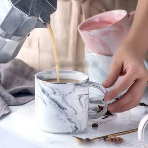 Keramik Marmor Kaffeetasse Klassischer Marmor Porzellan-Kaffeetasse Hand bemalt Keramik Herr und Frau Tee Milch Cups