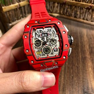 High Quality New RM 11-03 McLAREN Skeleton Big Date Dial Red Carbon Fiber Case Automatic Mechanical Mens Watch Rubber Strap Sport Watches