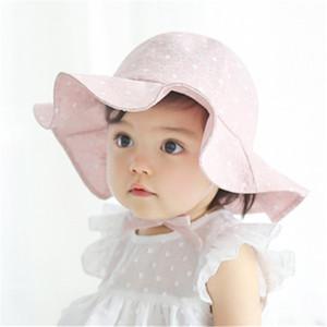 Nuovo infantili della neonata scherza il Sun dei bambini della protezione Estate Autunno all'aperto ragazzi delle ragazze Brim Sun Beach Bucket Hat Cotton Visor