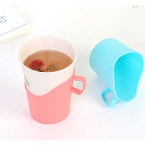 Delidge Hot Disposable Paper Cup Holder Plastic Anti-scalding Insulated Cup Holder Water Bottle Home Decor Accessories Party Supplies