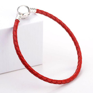 Luxury Fashion Classic Pink Leather Rope Hand Chain Bracelets Original Gift box for Pan 925 Silver Charms Bracelet Women W242