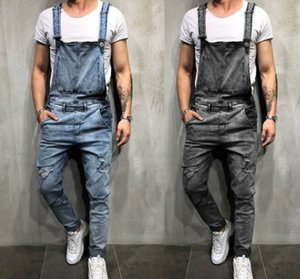 Autumn Winter Thicken High Waist Overalls for Men Solid Safari Style Overall with Hole Distressed Jeans Plus Size XXXL