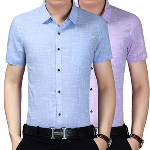 Slim Turn Down Collar Mens Designer Shirts Fashion New Short Sleeve Solid Color Business Shirt Male Clothing