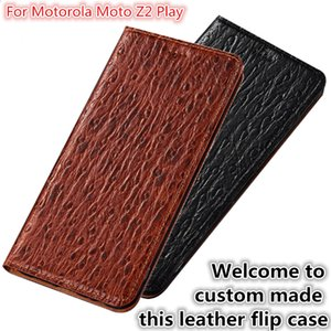 QX07 Ranura para tarjeta de la caja del tirón magnético del cuero natural para Motorola Moto Z2 Jugar Caja del teléfono para Motorola Moto Z2 Jugar Flip Cover Kickstand