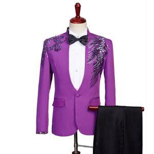 Purple Blazer men suit set with pants mens wedding suits Sequin singer star style dance Chorus stage clothing slim formal dress