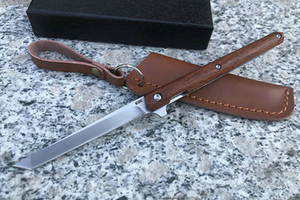 1Pcs neues Kugellager Taschen Flipper Folding Messer D2 Satin Tanto-Punkt-Blatt Palisander Griff EDC Messer mit Lederscheide