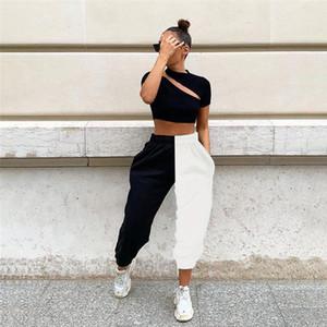 ارتفاع الخصر المرأة سروال فضفاض المرقعة اللون السيدات طويل عادية الرياضة التباين اللون أنثى بنطلون