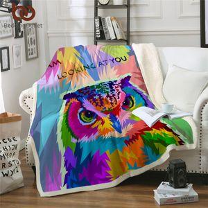 BeddingOutlet Corujas Cobertor Macio Colorido Pássaro Peludo Cobertor Sherpa Aquarela Camada Galaxy Throw Cobertores Para Camas 150x200 cm
