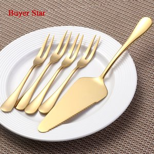 5PCS Stahl Kuchen Schaufel Kochen Werkzeuge Western Gold Tortenmesser für Torte / Pizza / Käse / Pastry Server Divider Buttermesser