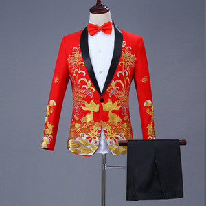 Mens Black Gold Blazer style chinois floral poisson broderie Blazer Hommes col châle Homme Stage Porter Prom