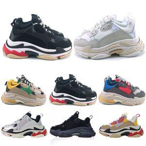 Venta de la manera de plataforma para hombre zapatillas de deporte Triple zapatos ocasionales de s mujeres Negro Vintage triplicador rosa de color blanco cremoso étoile Tripe-S Zapatos clásicos del papá