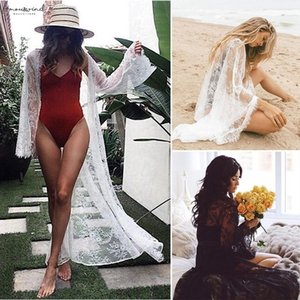 Sexy Womens Bathing Lace V-Neck See Through Long Sleeve Bikini Cover Up Swimwear Summer Beach Dress