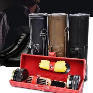 Shoe Shine Care Kit With Compact Case Portable Travel Home Neutral Shoes Polish Set For Men Gifts Shoe Brushes