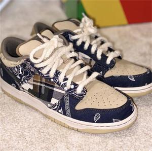 2020 New Travis Scotts x SB Dunk Low Sport Planche à roulettes Chaussures de course Hommes Formateurs femmes Designer Chaussures Dunks 36-45