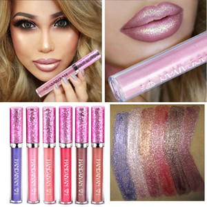 6 Farbe HANDAIYAN Diamond Shine Metallic Lippenstift Charming Long Lasting Tattoo Flüssigkeit Lippenstift Glitter Puder Lip Gloss L2801