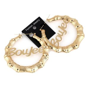 7cm Hiphop Sexy Bamboo Hoop Earrings Customizable Customize Name Earrings Bamboo Style Custom Hoop With Statement Words