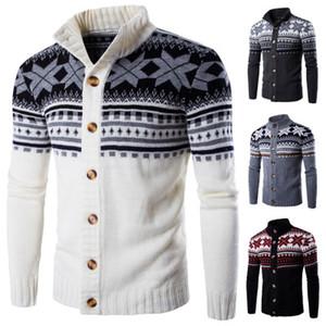 Mens suéteres de Navidad Cardigan nieve Impresión de abrigo Tops Hommes jerséis de punto Abrigos Jerseys solo pecho masculino suéteres Slim Fit