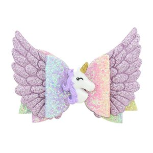 Enfants Sequin aile d'ange mignon Hairpins bébé Cartoon Unicorn Shiny Glitter Barrettes enfants Princesse Party Barrettes TTA1887-2