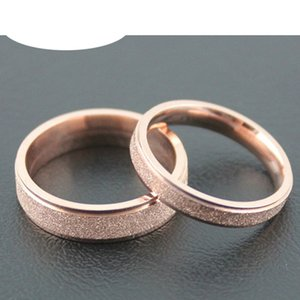 2020 LQ stainless steel wedding accessories husband and wife scrub Gypsophila gold rose men's ring band fashion jewelry wholesale the