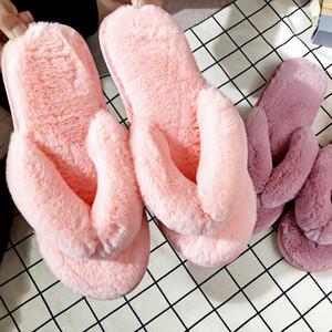 Flip Flops Frauen Winter Home Slippers Fluffy Plüsch Slipper Warm Cotton Innenboden Rutschhemmende weiche bequeme Sweat-flache Schuhe