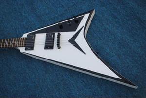 Atacado guitarra eléctrica New Arrival V 6 cordas da guitarra elétrica em branco, transporte livre
