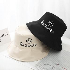 Новая вышивка Be Smile Bucket Hat Big brim Bob Cap хип-хоп Gorros Мужчины Женщины летние шапки пляж солнце Рыбалка Панама шляпа