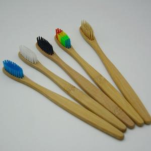 Bambù naturale manico dello spazzolino arcobaleno colorato setole morbide Bamboo Spazzolino 8 colori scatola di carta Pacchetto Strumenti RRA1335