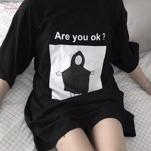 Are You Ok? Casual Korean Fashion Loose O Neck Five Point Sleeve Cute Cartoon Japanese Harajuku V Neck Black T Shirt Female