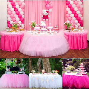 Christmas Party Tulle Table Skirt Cover Birthday Wedding Festive Party Decor Princess Table Cloth Skirt Supplies 5 Colors