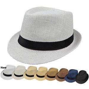 Sombreros de moda para Mujeres Fedora del sombrero flexible Gangster Cap verano de la playa de paja de Sun del sombrero de Panamá con la cinta de la banda Sunhat ZZA1005